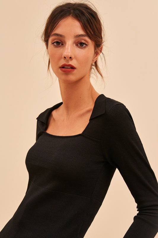 CLOSURE KNIT TOP black
