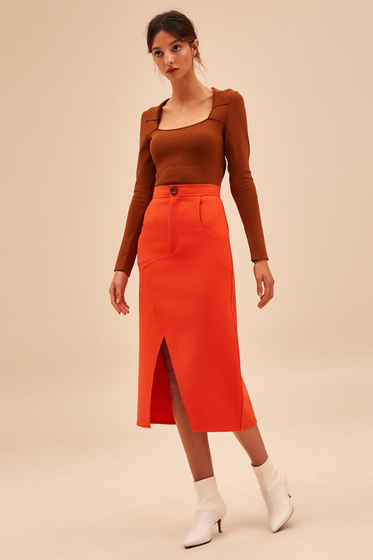 HIGH HEART SKIRT morange