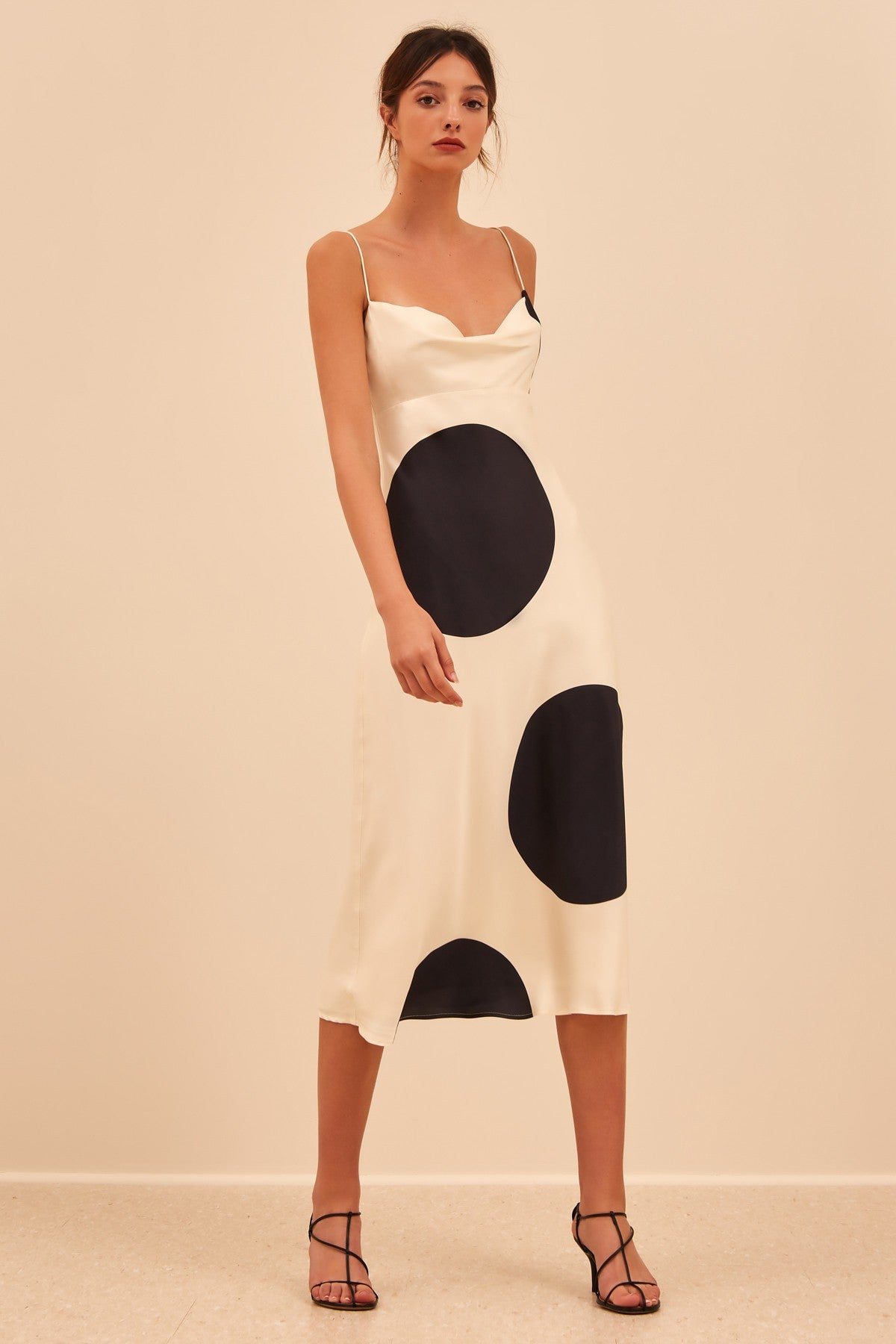 SECTIONAL MIDI DRESS ecru spot