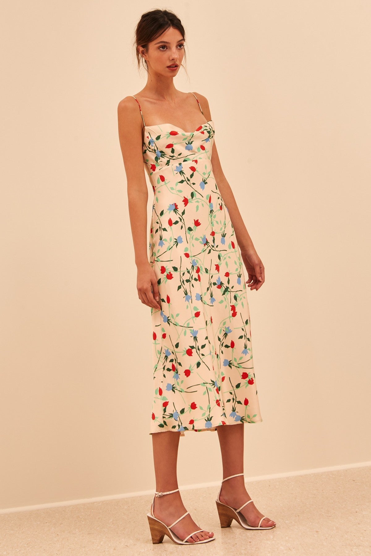 SECTIONAL MIDI DRESS apricot floral
