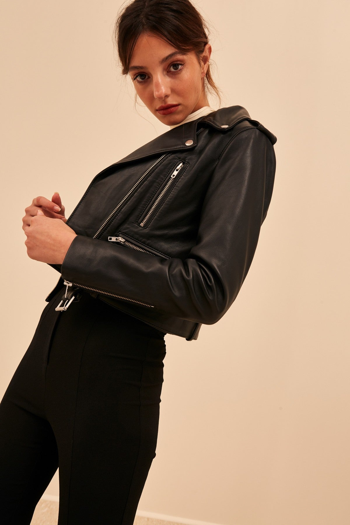 WHILE HERE LEATHER JACKET black