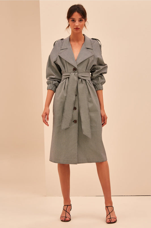 MOTIVATIONS TRENCH black gingham