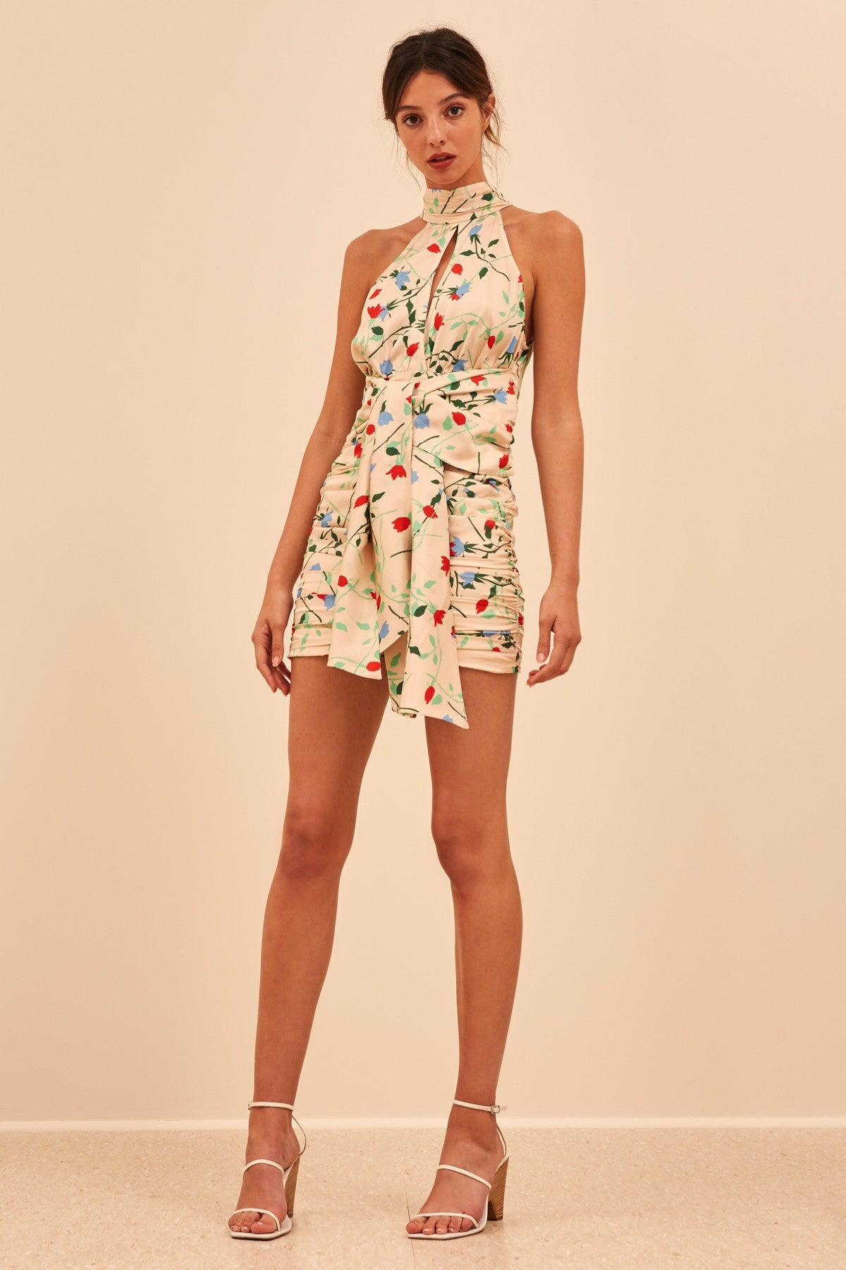 SECTIONAL SHORT SLEEVE DRESS apricot floral