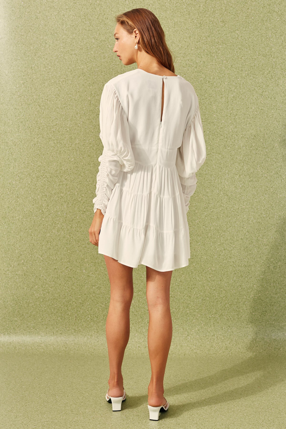 PUBLICITY LONG SLEEVE DRESS ivory