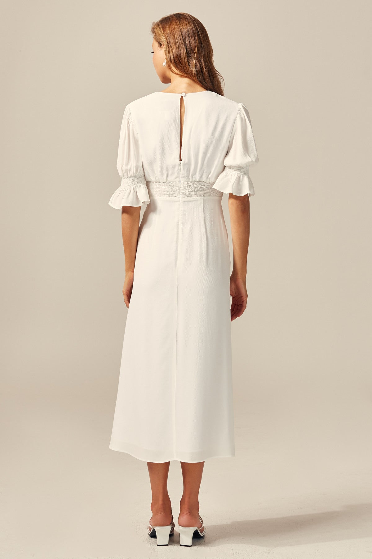 PUBLICITY SHORT SLEEVE DRESS ivory