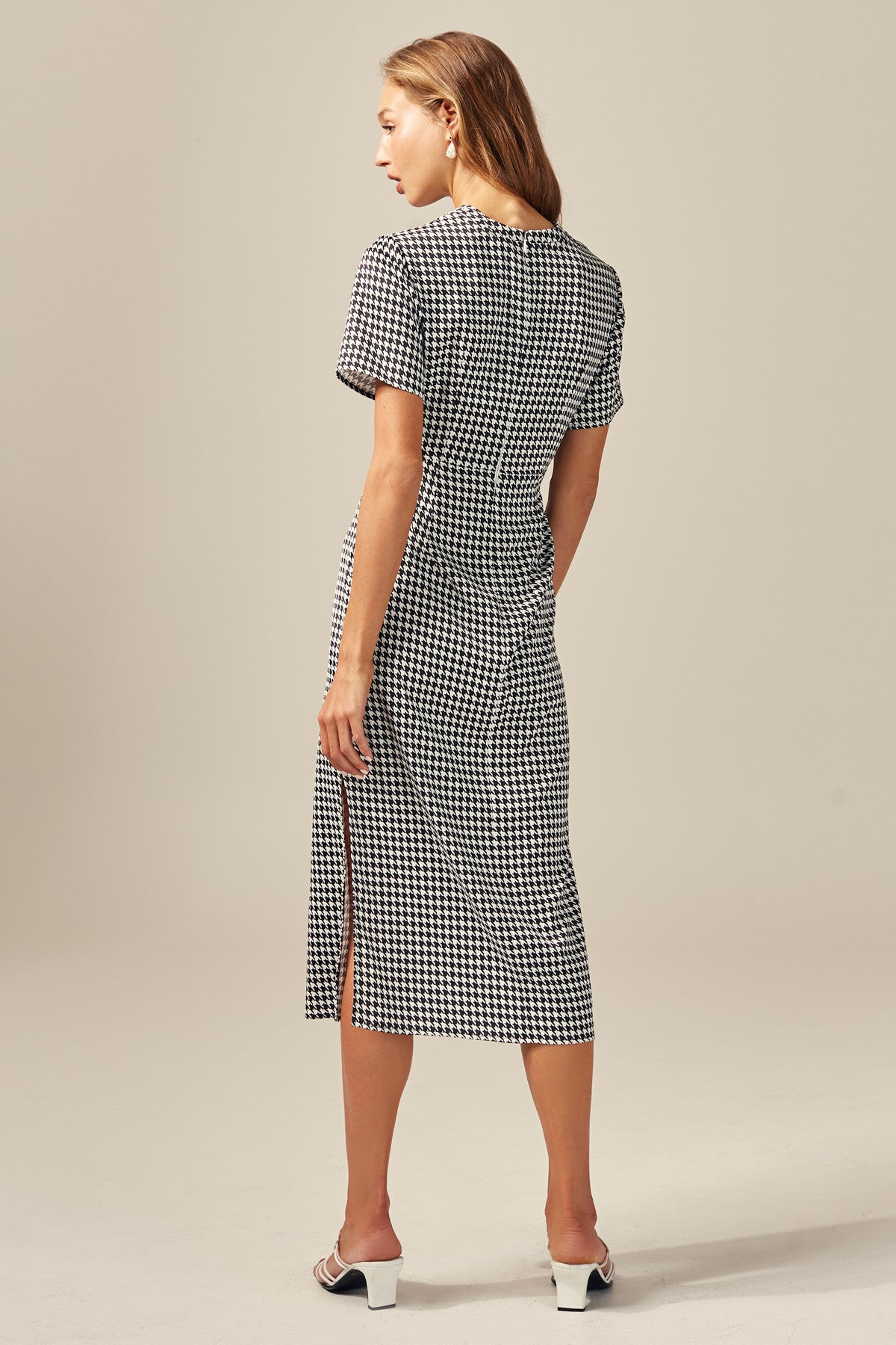 PROVIDED DRESS black houndstooth