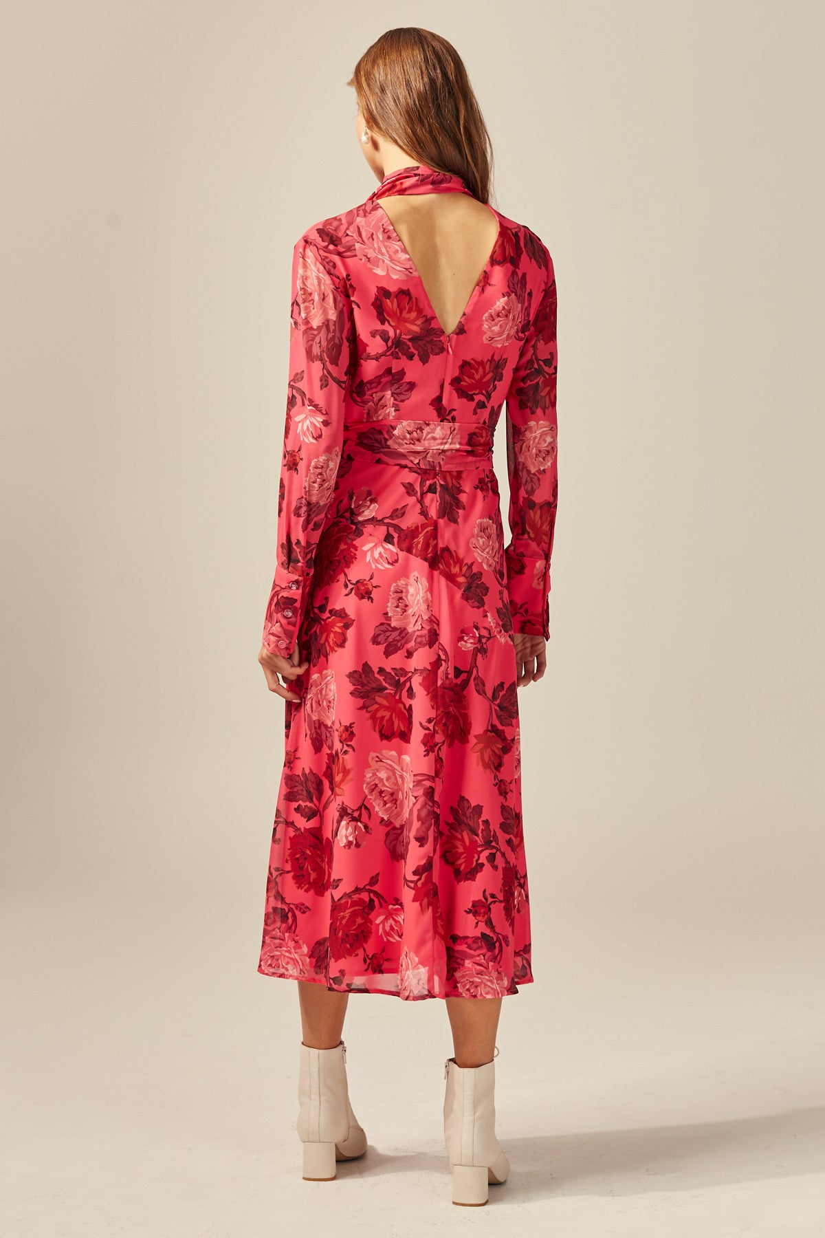 VARIATION LONG SLEEVE MIDI DRESS hot pink rose