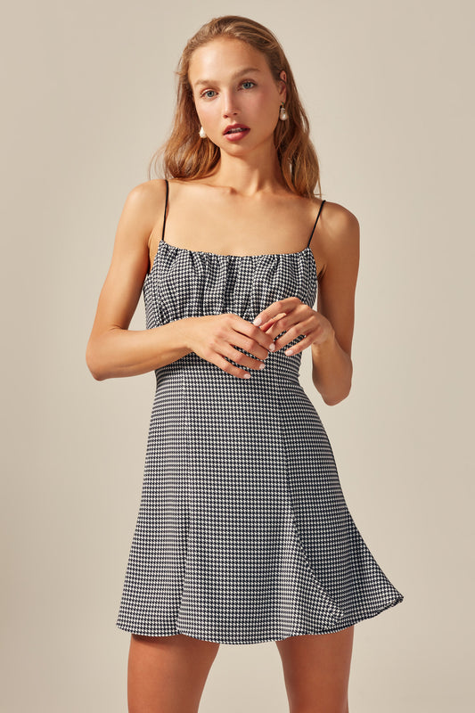 PROVIDED MINI DRESS black houndstooth