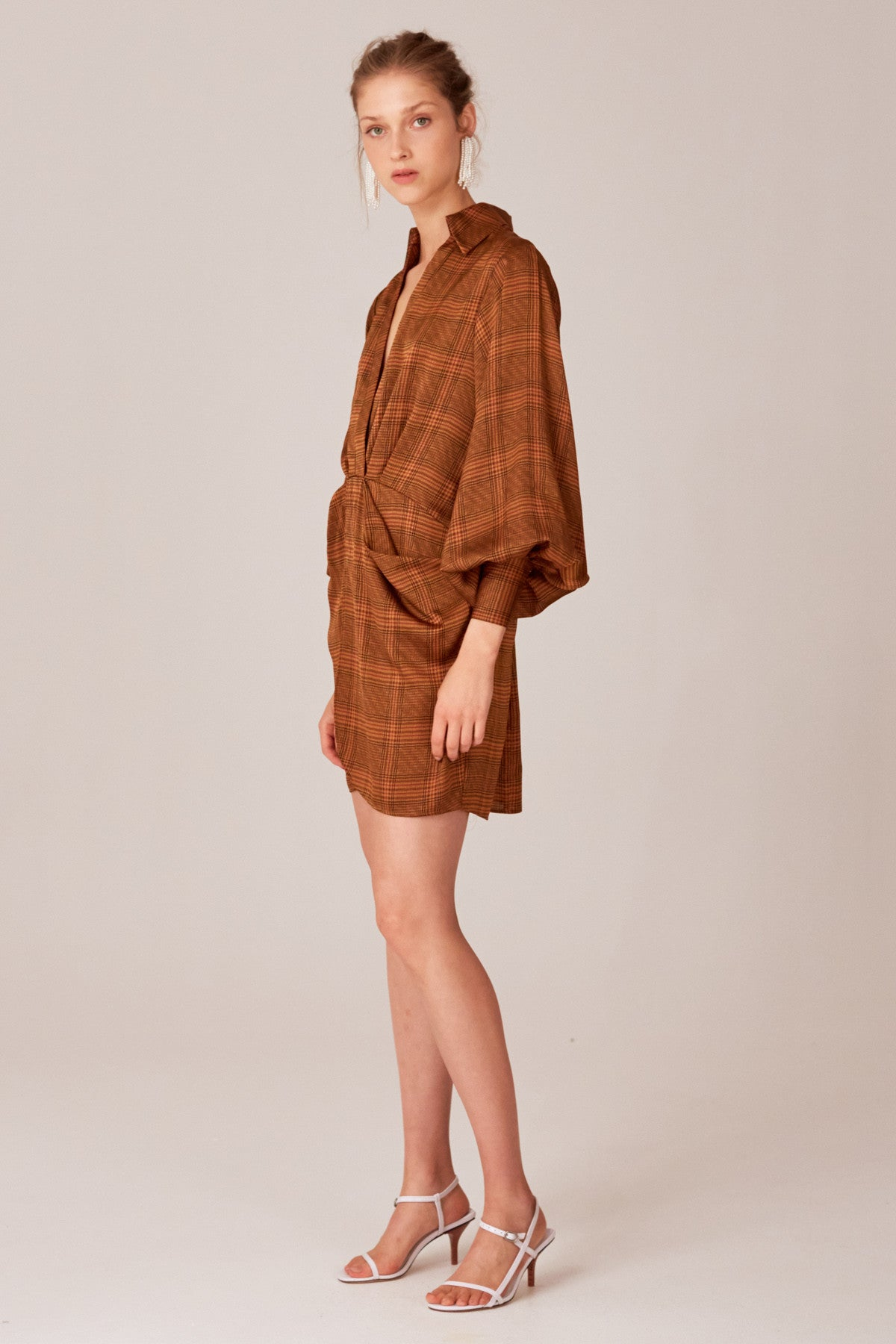 NO TIME DRESS copper check