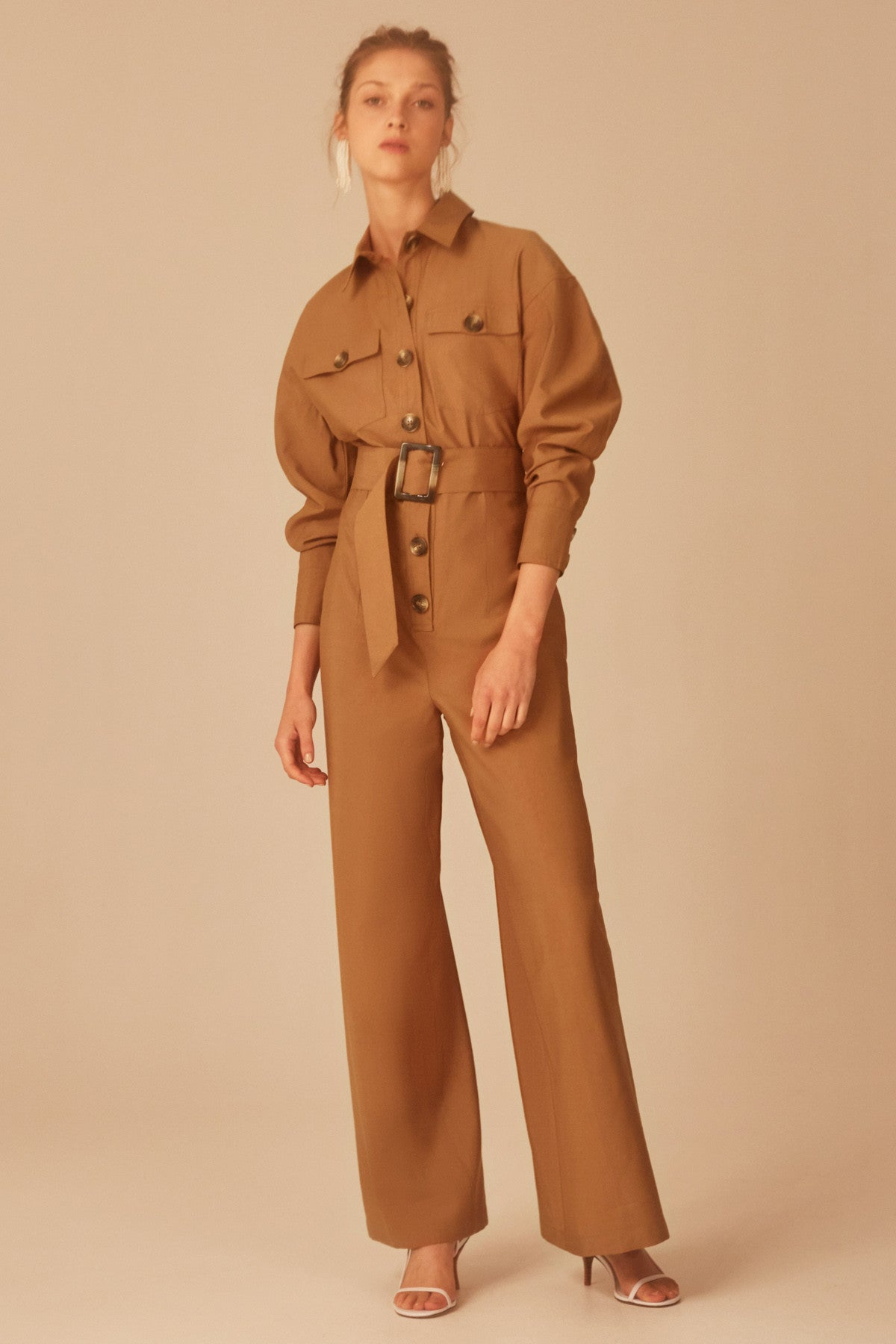 NO LIES JUMPSUIT tan