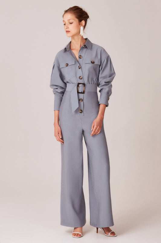 NO LIES JUMPSUIT slate blue