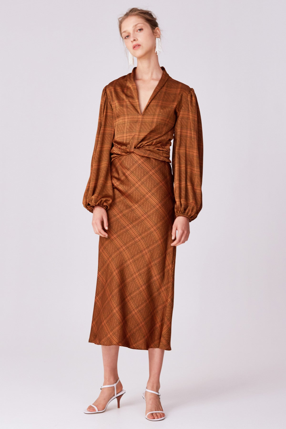 NO TIME SKIRT copper check