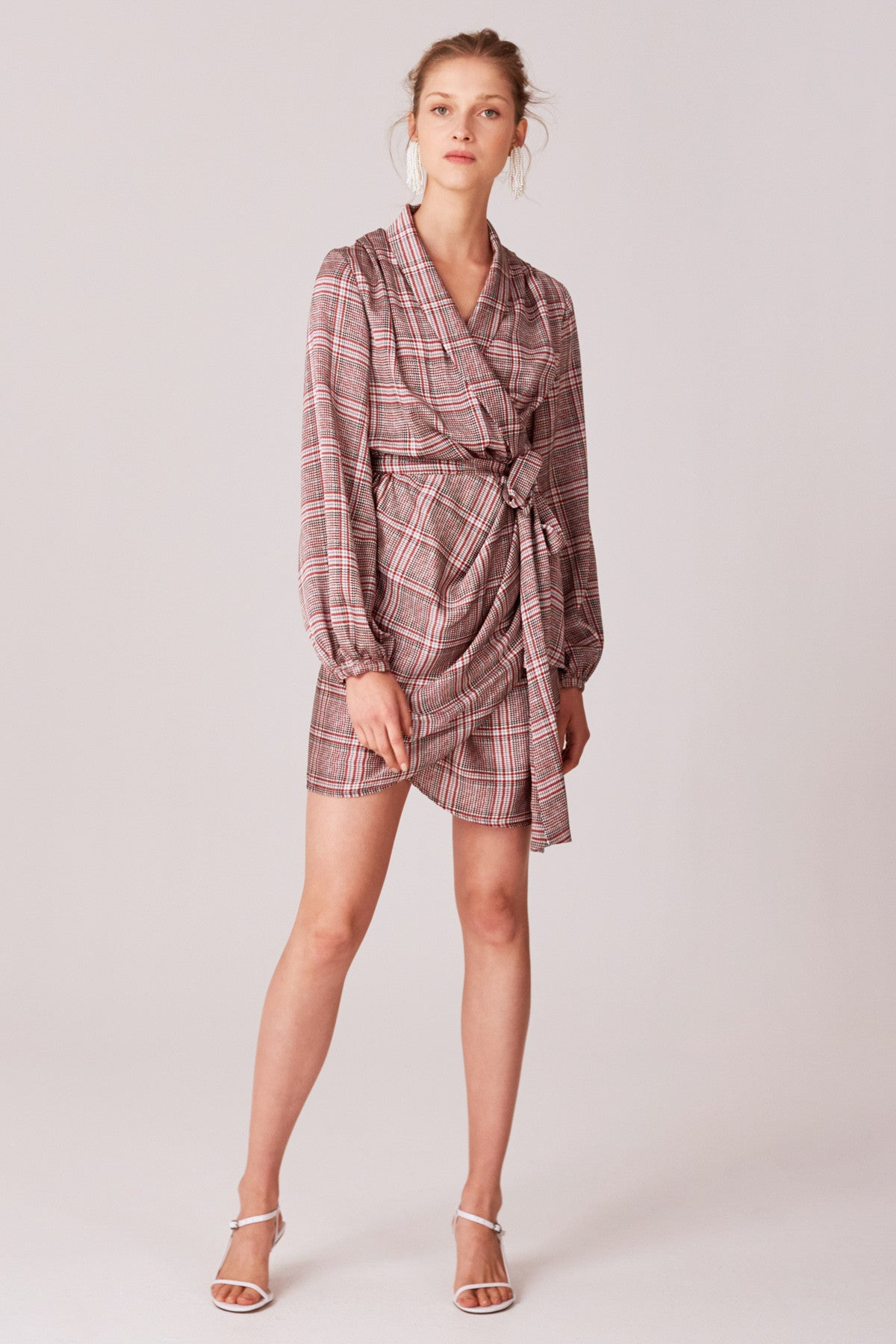 NO TIME LONG SLEEVE DRESS ivory check