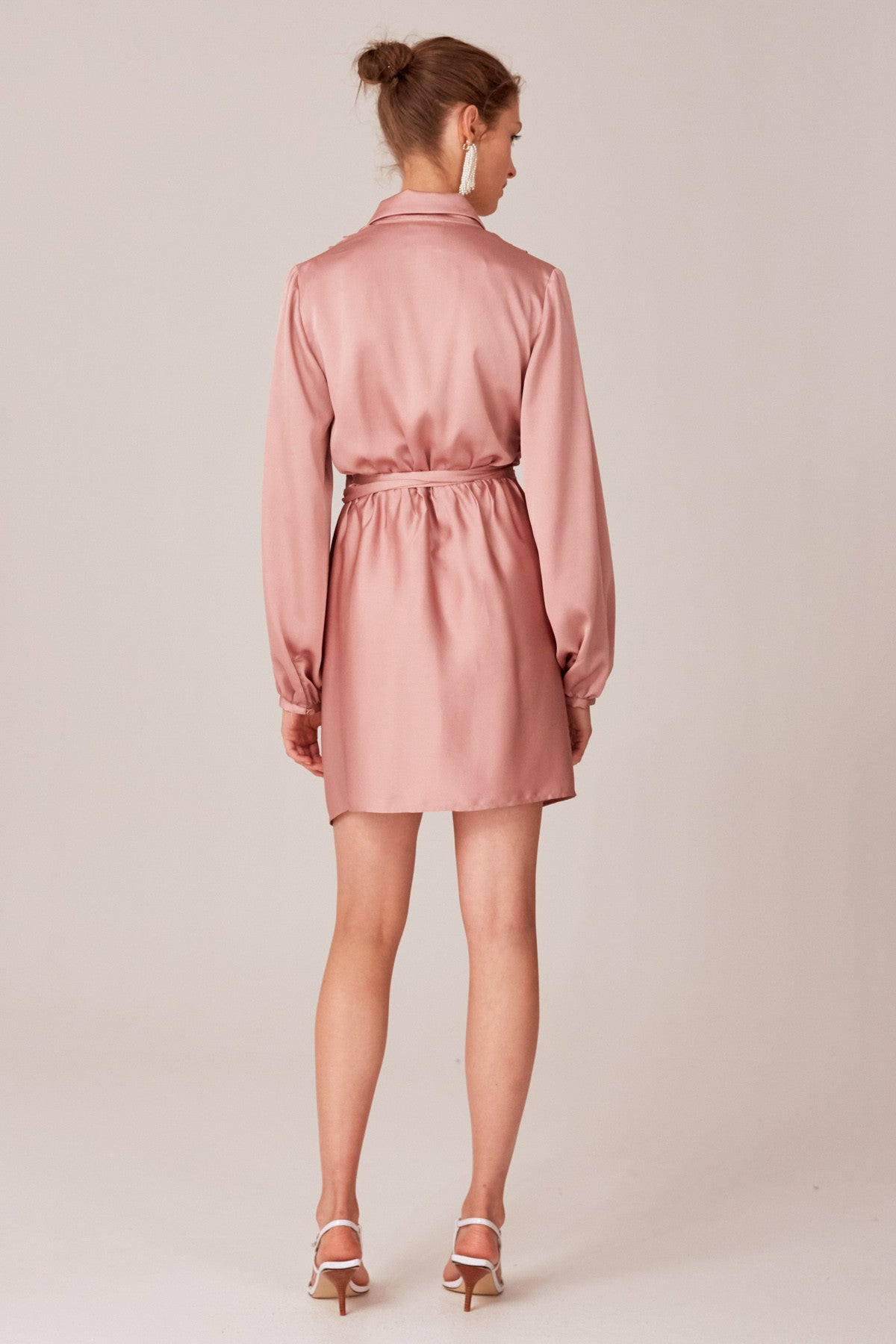 NO TIME LONG SLEEVE DRESS dusty pink