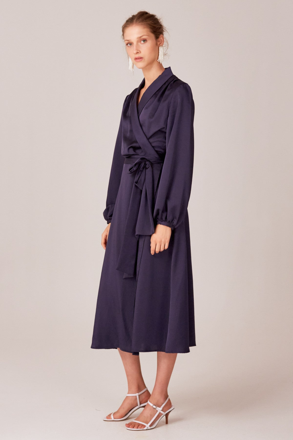 LATE THOUGHTS MIDI DRESS navy