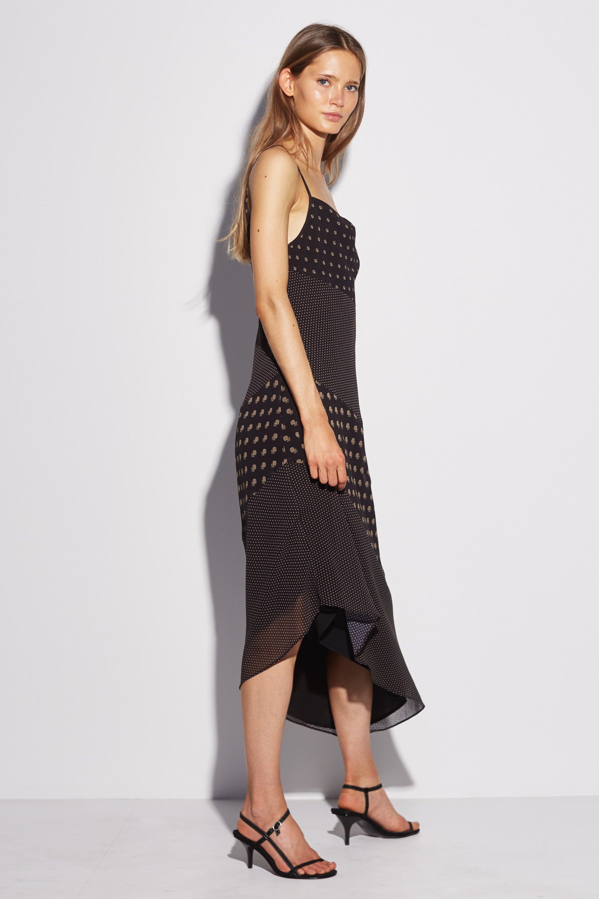 PALATIAL MIDI DRESS black spliced paisley