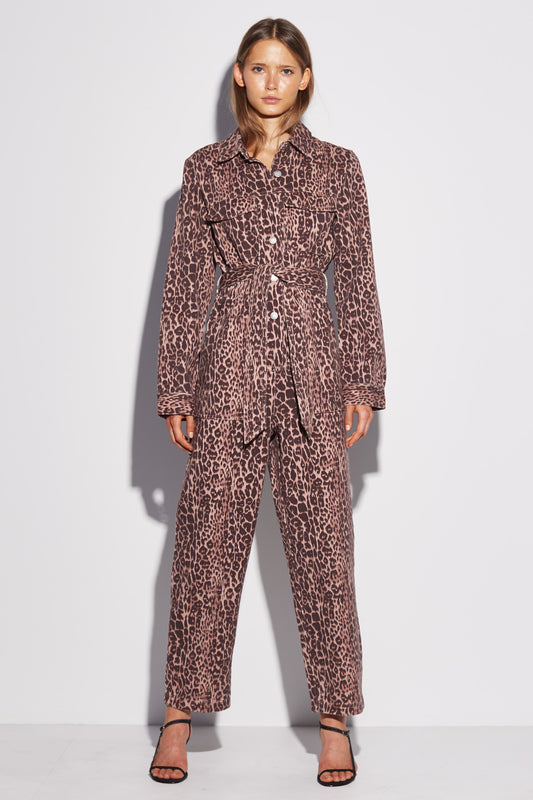 REITERATE JUMPSUIT brown leopard
