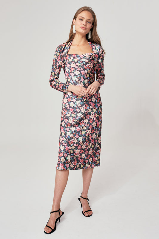 TIME FLEW LONG SLEEVE DRESS black garden floral