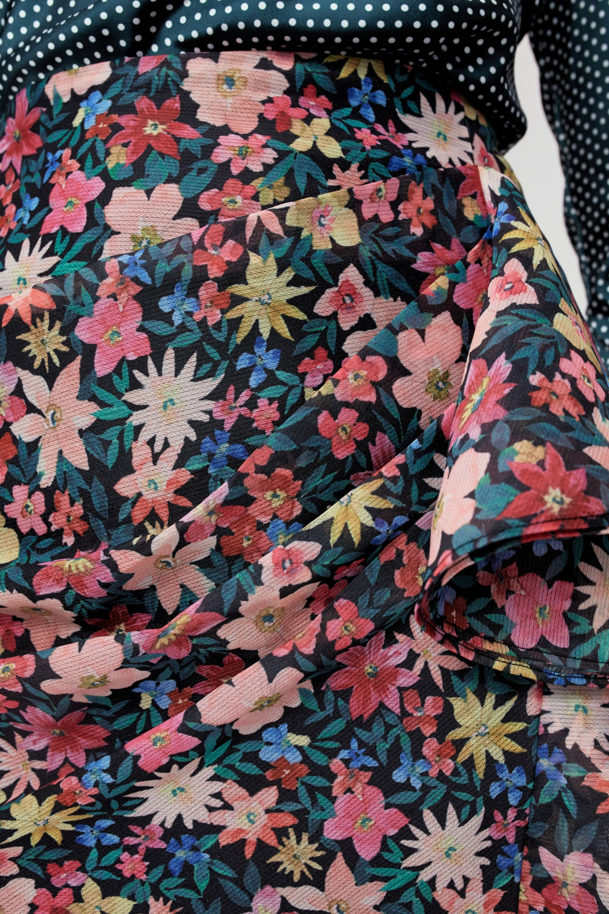 AND EVER MORE SKIRT black garden floral
