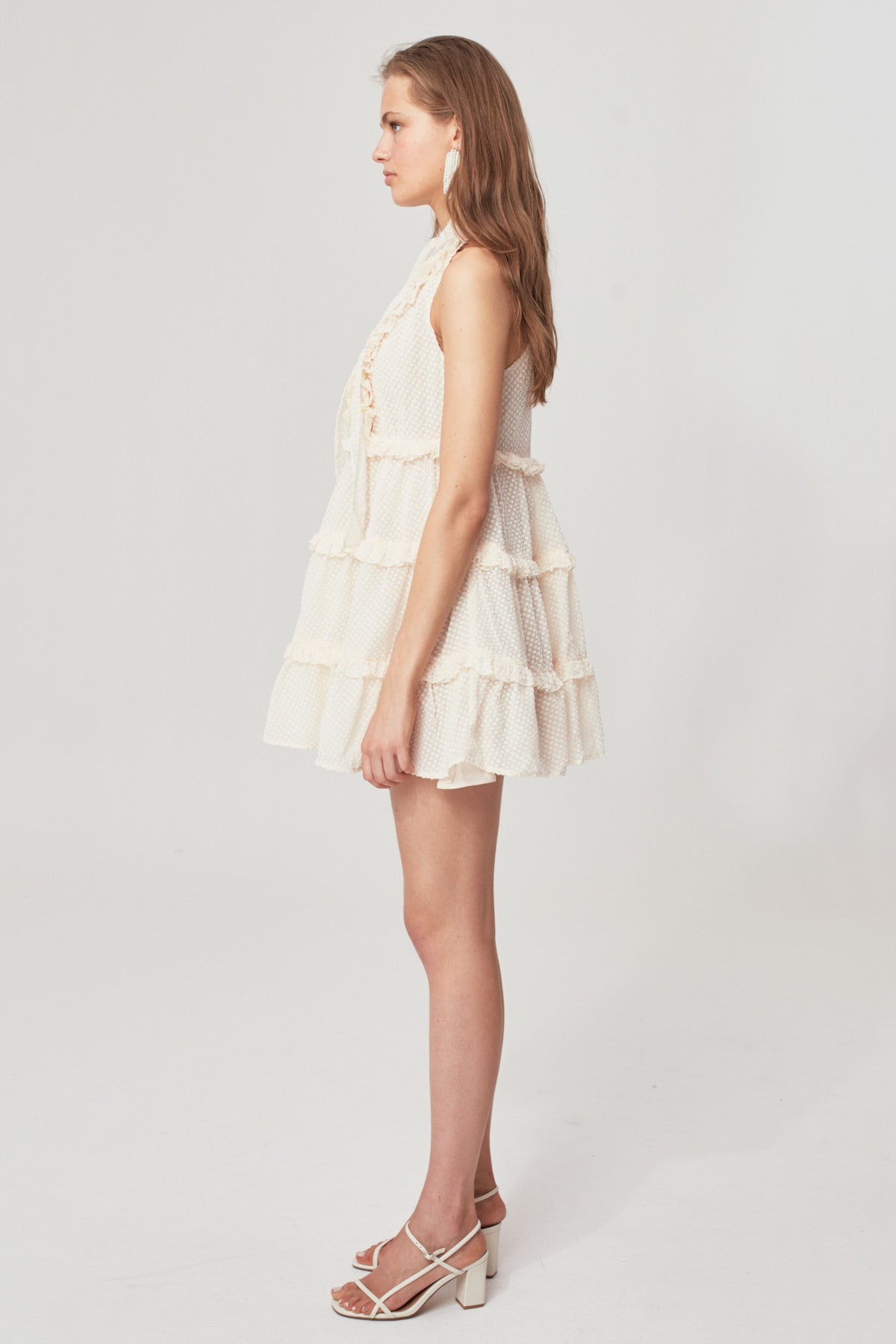 BREAK IN TWO SHORT SLEEVE DRESS cream w ivory