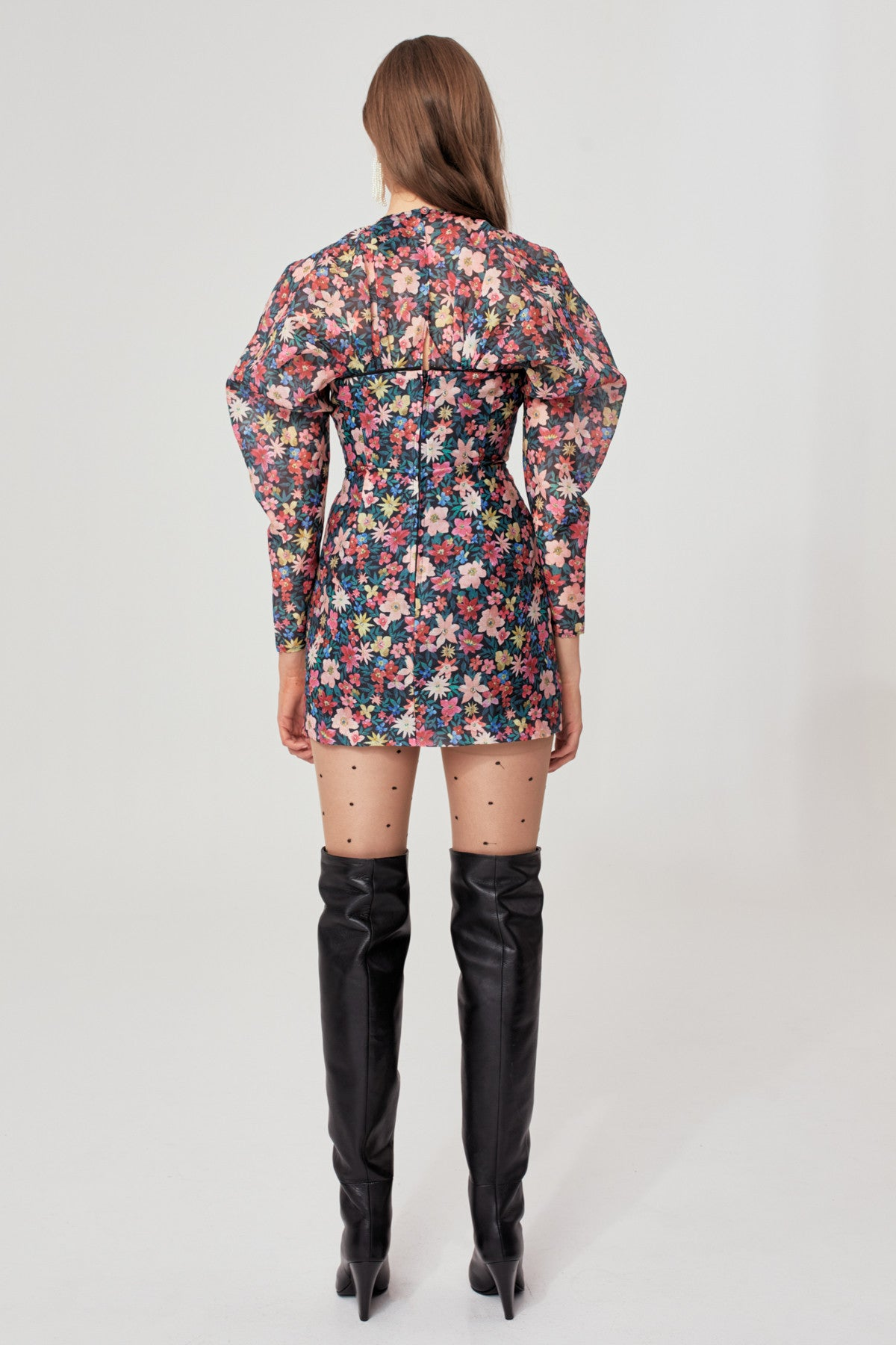 AND EVER MORE LONG SLEEVE DRESS black garden floral