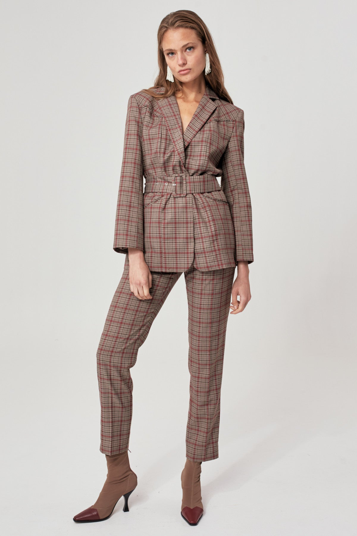 HYBRID PANT taupe check