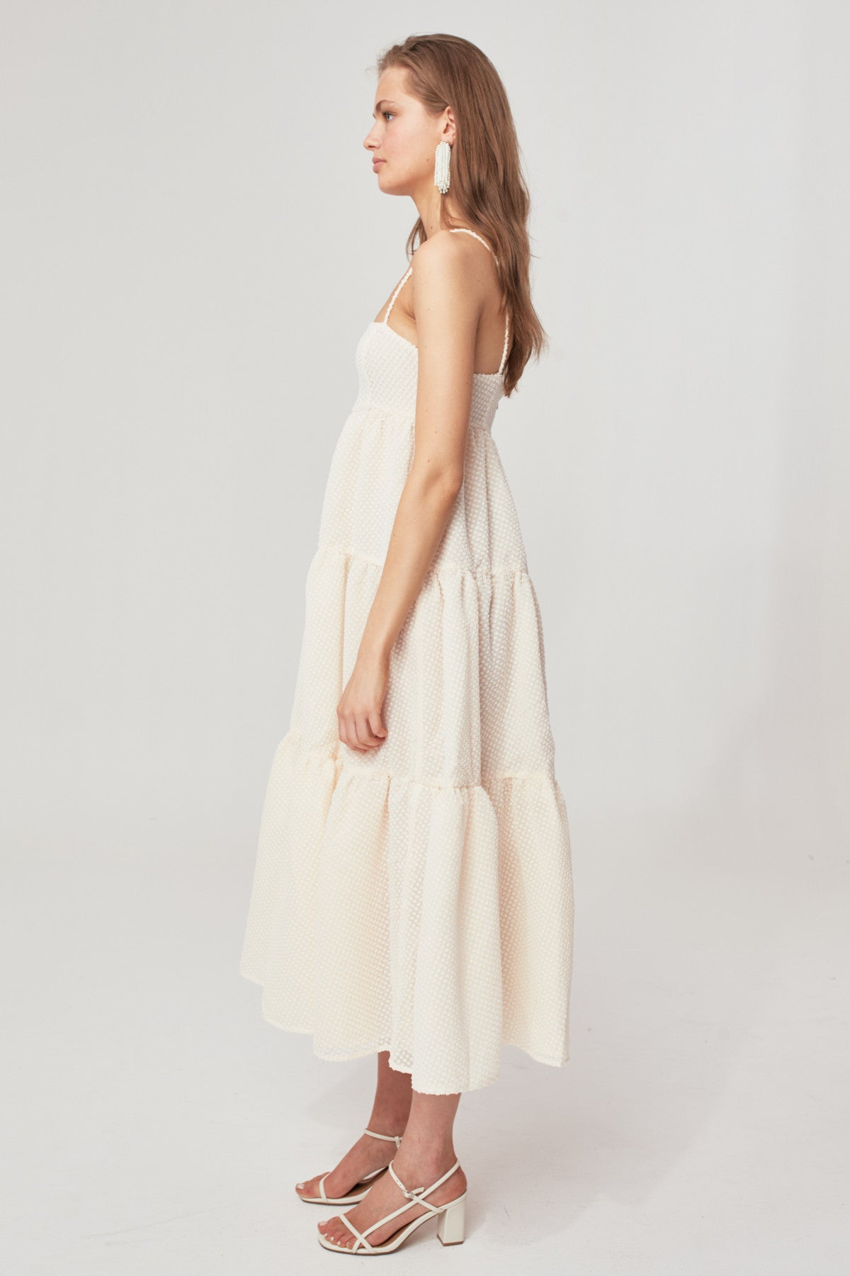 BREAK IN TWO MAXI DRESS cream w ivory
