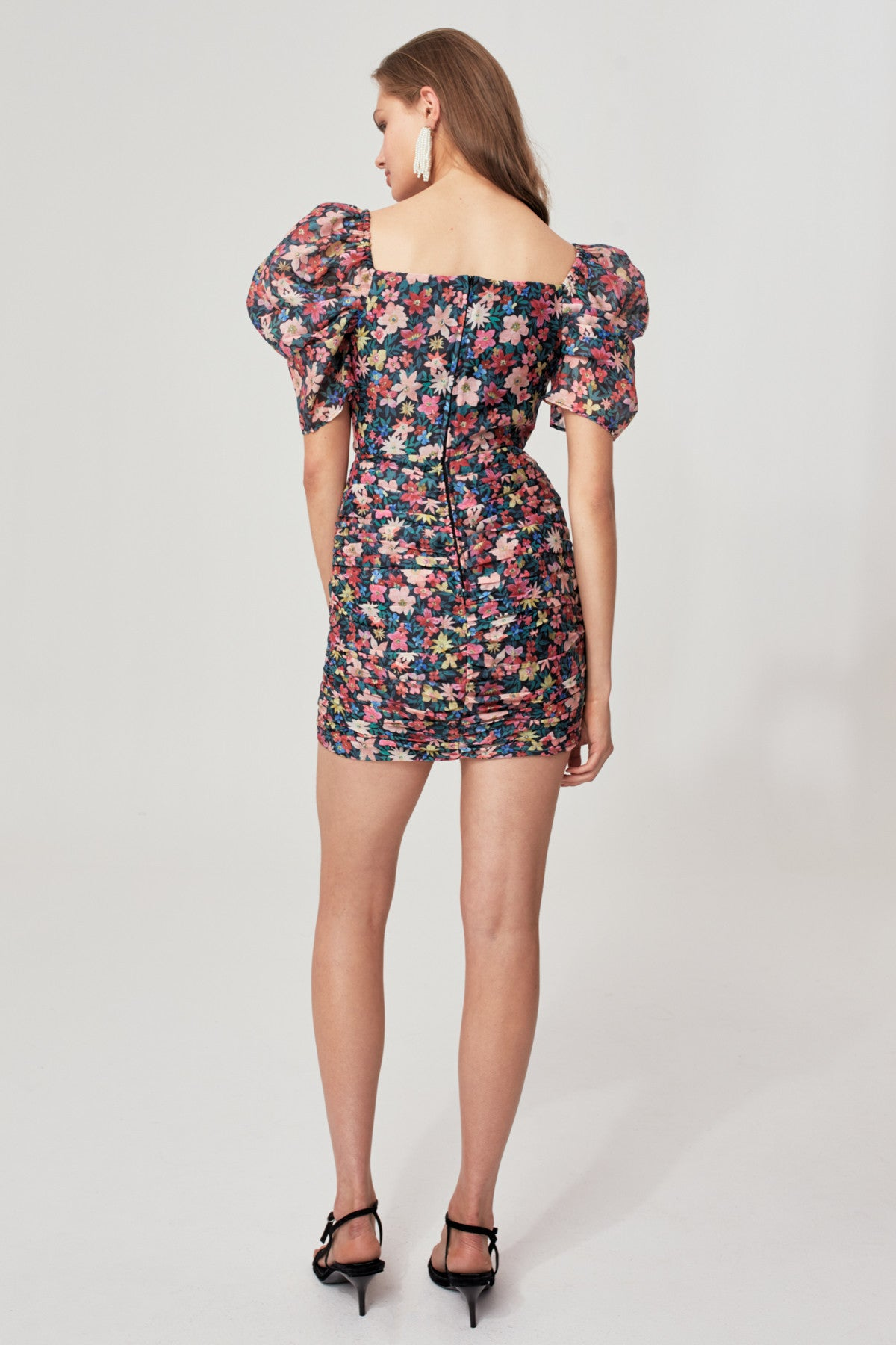 AND EVER MORE SHORT SLEEVE DRESS black garden floral