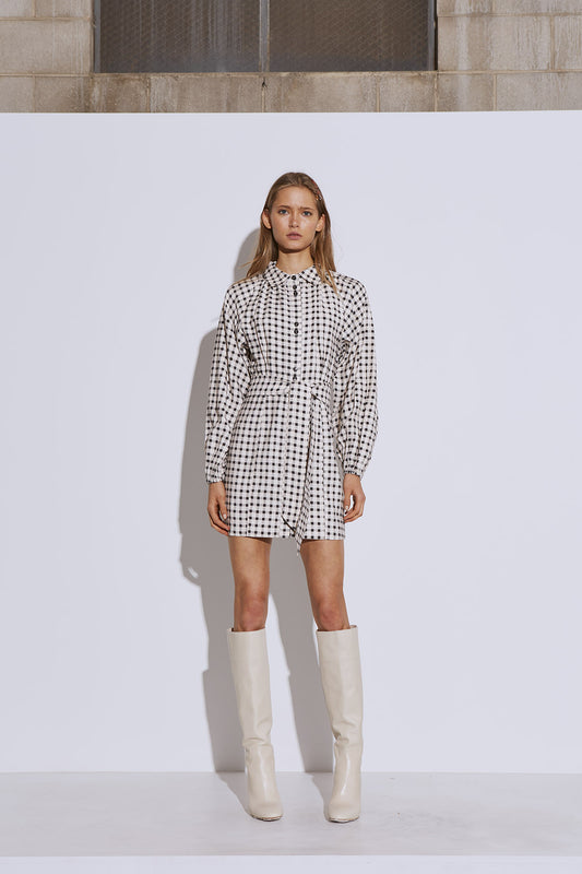 INHALE LONG SLEEVE DRESS cream w black check