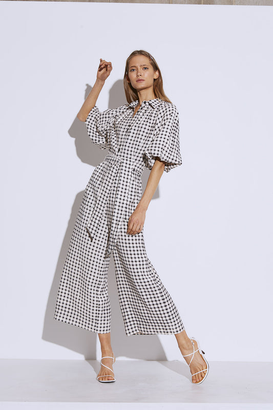 INHALE JUMPSUIT cream w black check