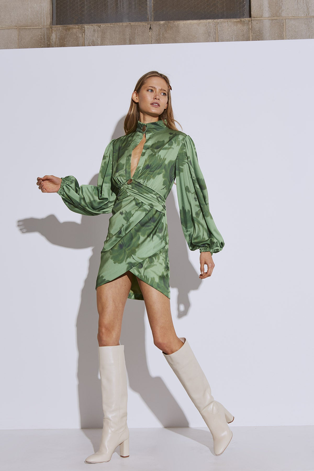 RENEW DRESS green washed floral
