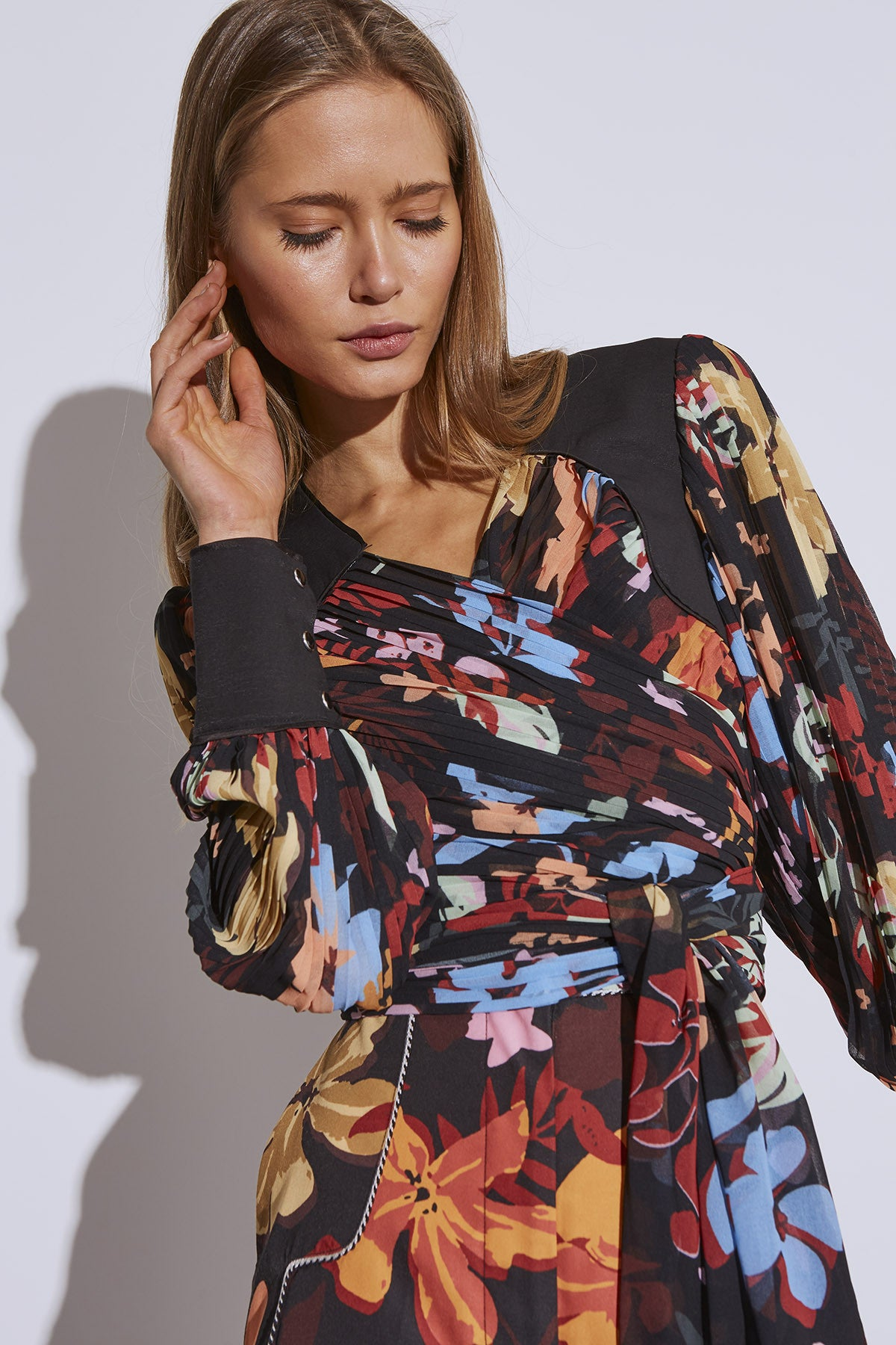 WITH OR WITHOUT TOP black abstract floral