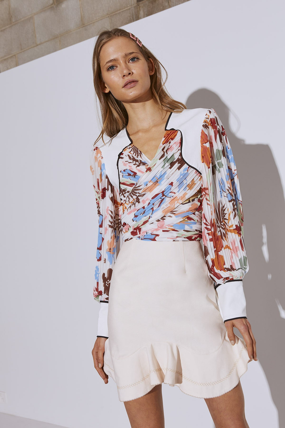 WITH OR WITHOUT TOP ivory abstract floral