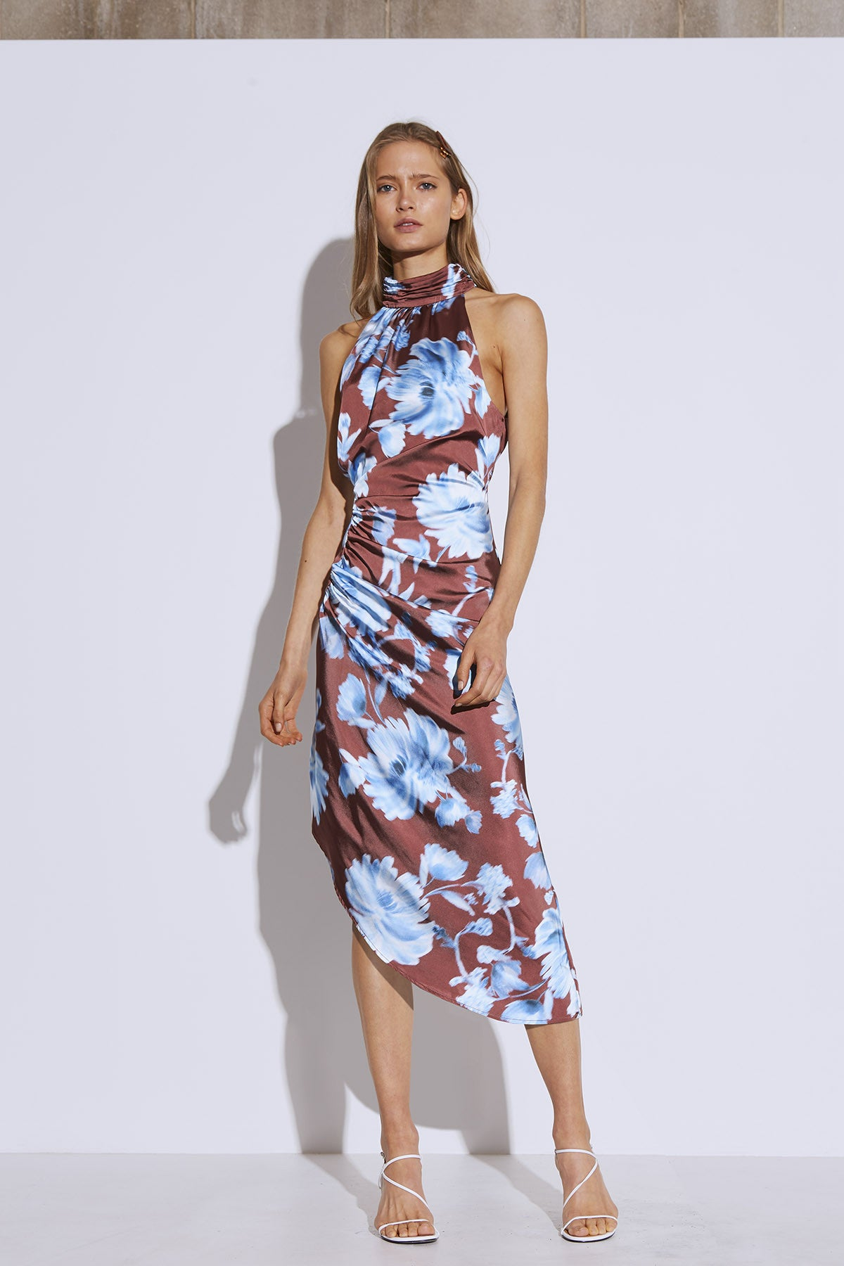 IN BLOOM DRESS mahogany washed floral
