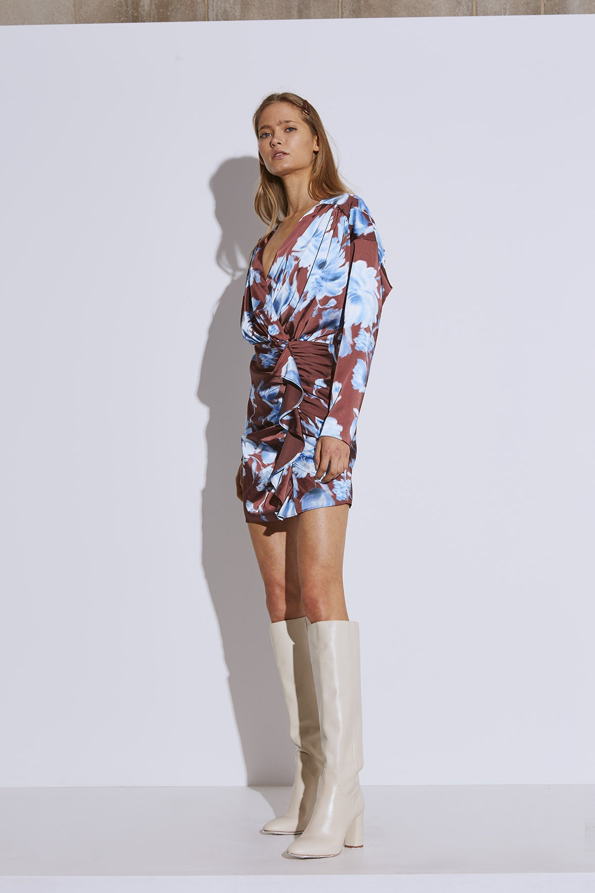 IN BLOOM LONG SLEEVE DRESS mahogany washed floral