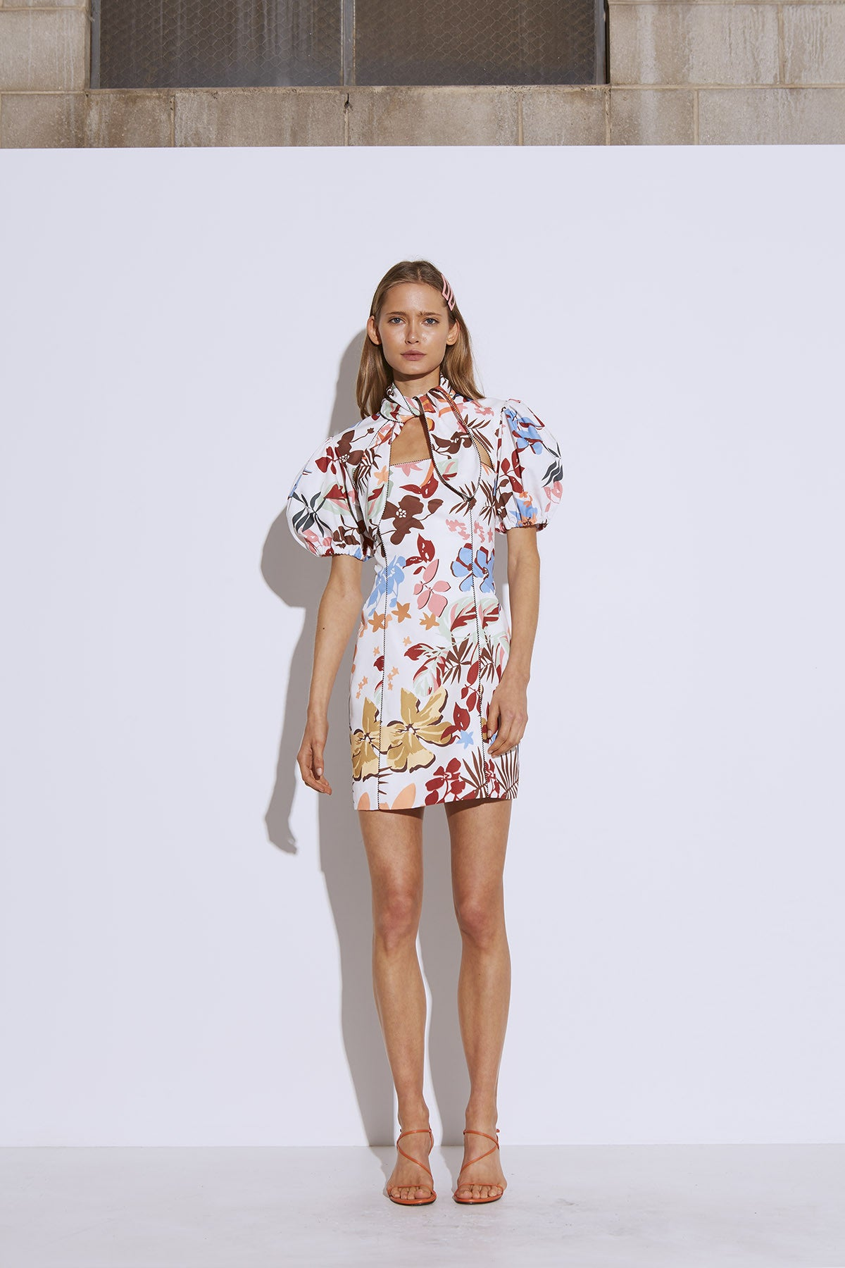 ORIGIN SHORT SLEEVE DRESS ivory abstract floral