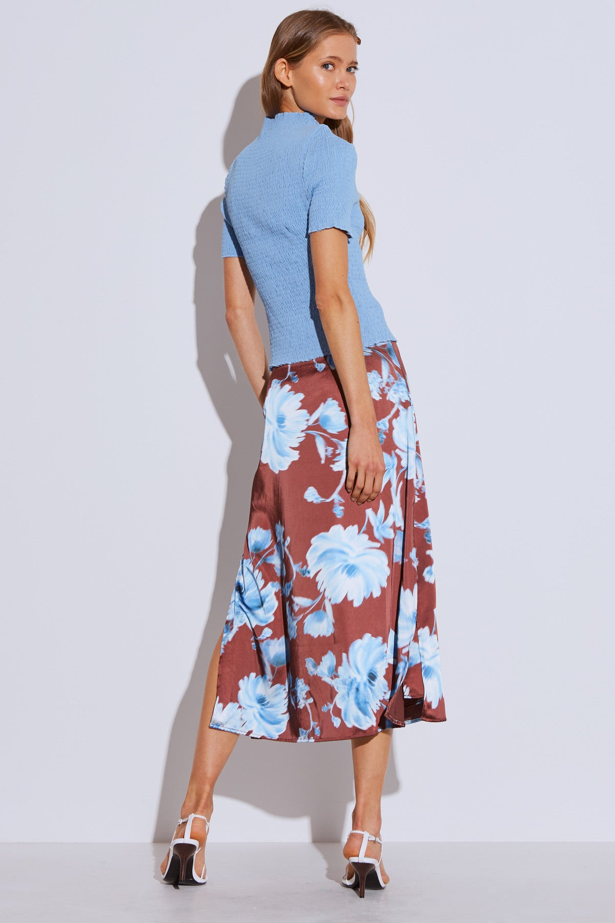 IN BLOOM SKIRT mahogany washed floral