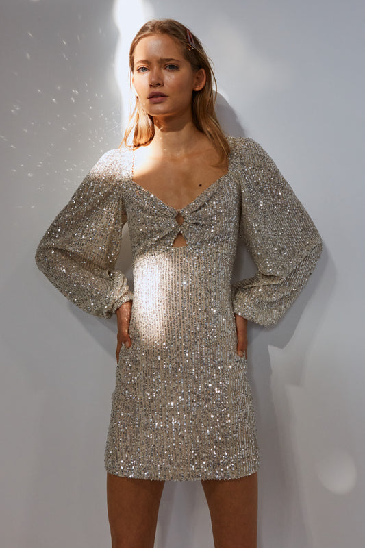 LUSTRE MINI DRESS cream sequin