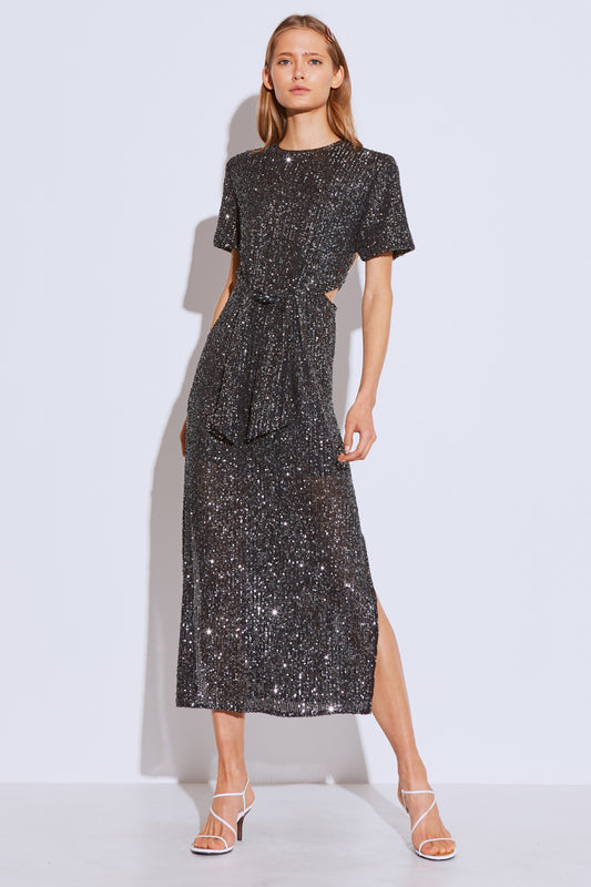 LUSTRE MIDI DRESS black sequin