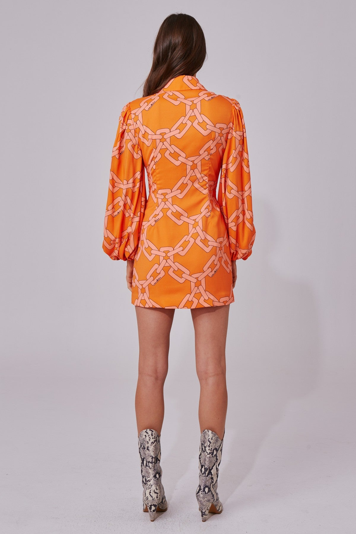 MORNINGS LONG SLEEVE DRESS tangerine chain