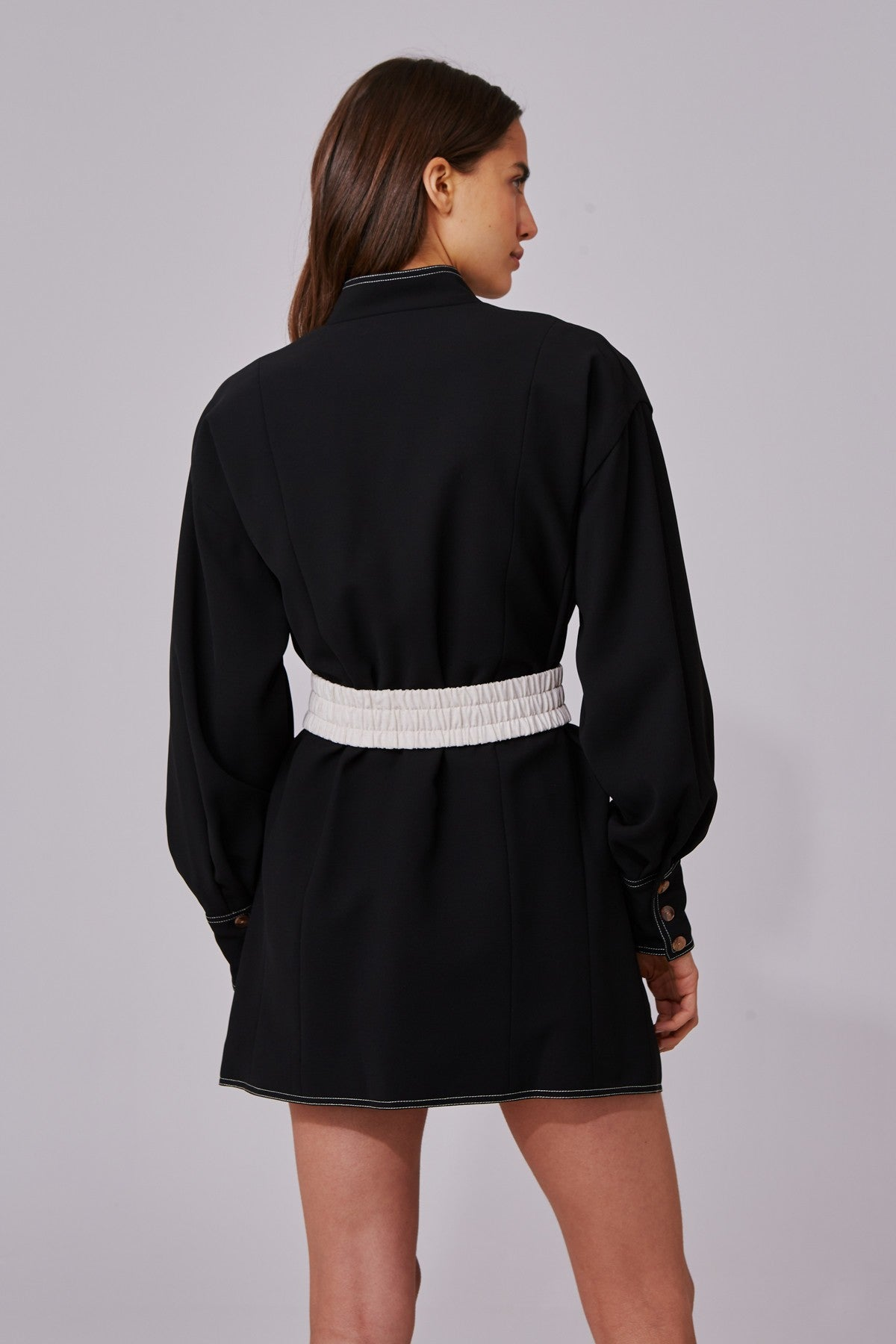 CONSISTENT LONG SLEEVE DRESS black w stone