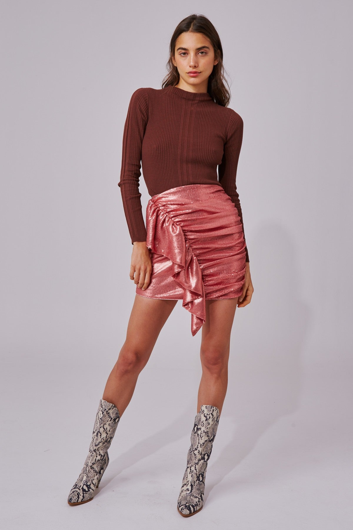 AS IT GOES SKIRT rosewood sequin