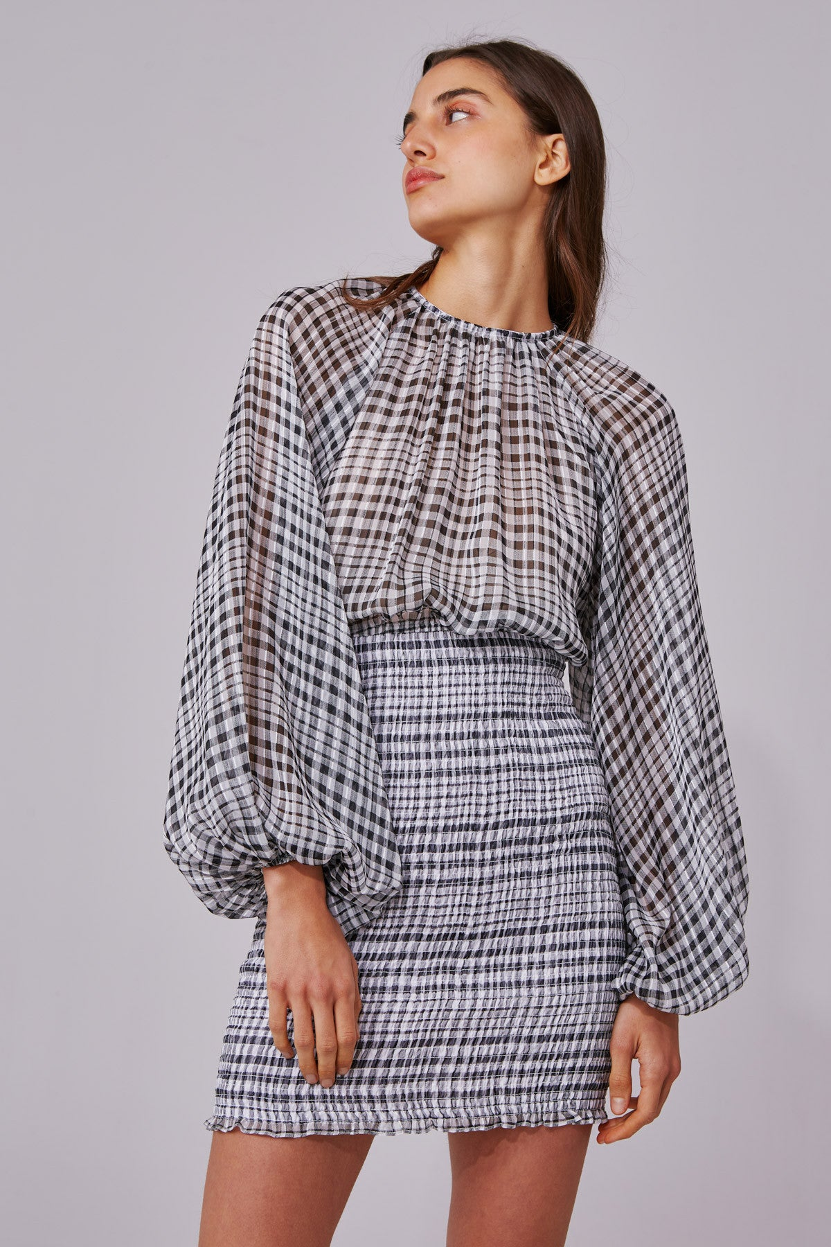 STEALING SUNSHINE LONG SLEEVE DRESS black check