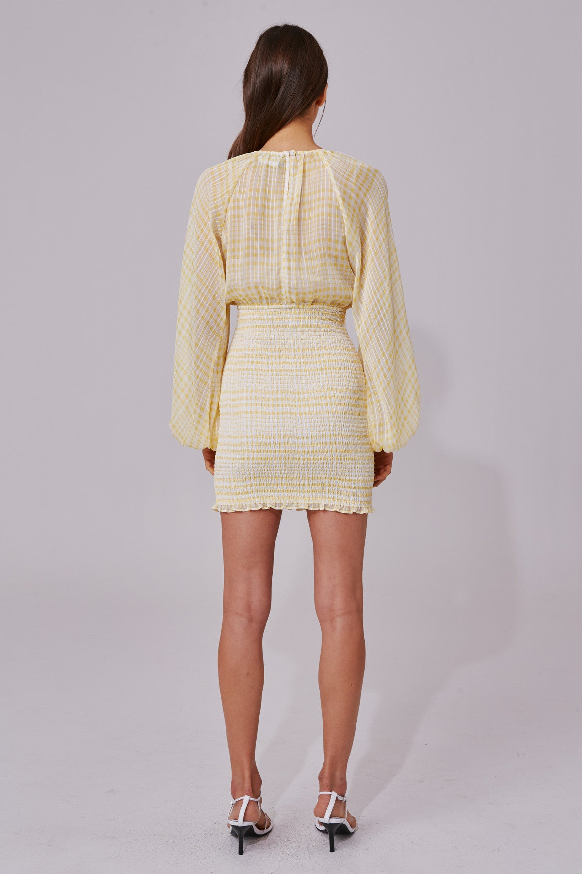 STEALING SUNSHINE LONG SLEEVE DRESS yellow check