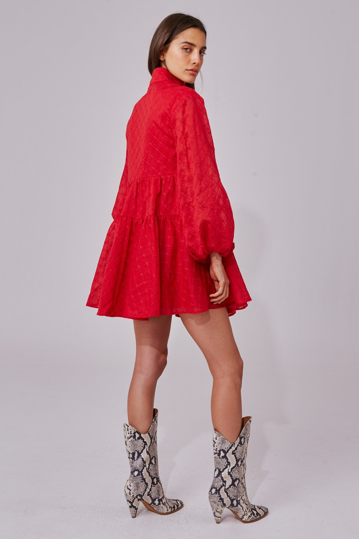 DIGNITY LONG SLEEVE DRESS red