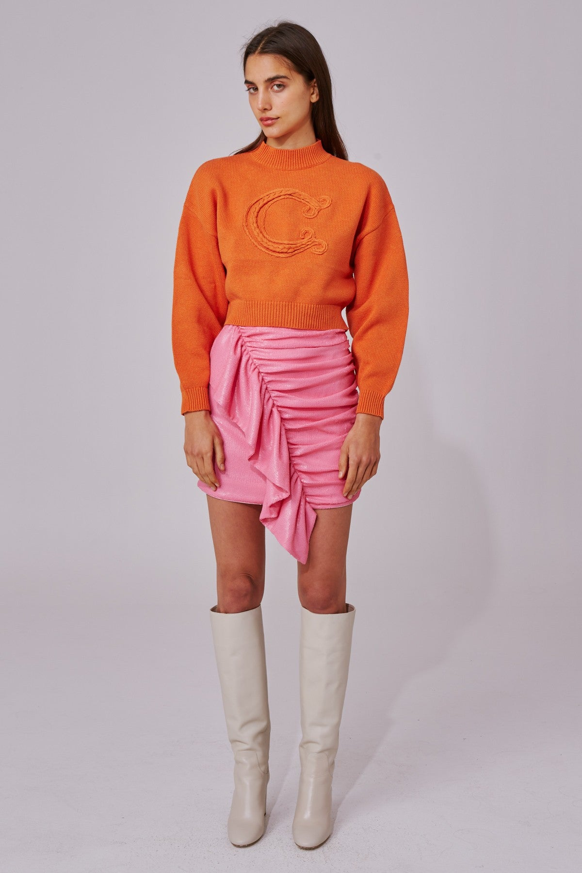 CORRELATIVE KNIT JUMPER tangerine marle