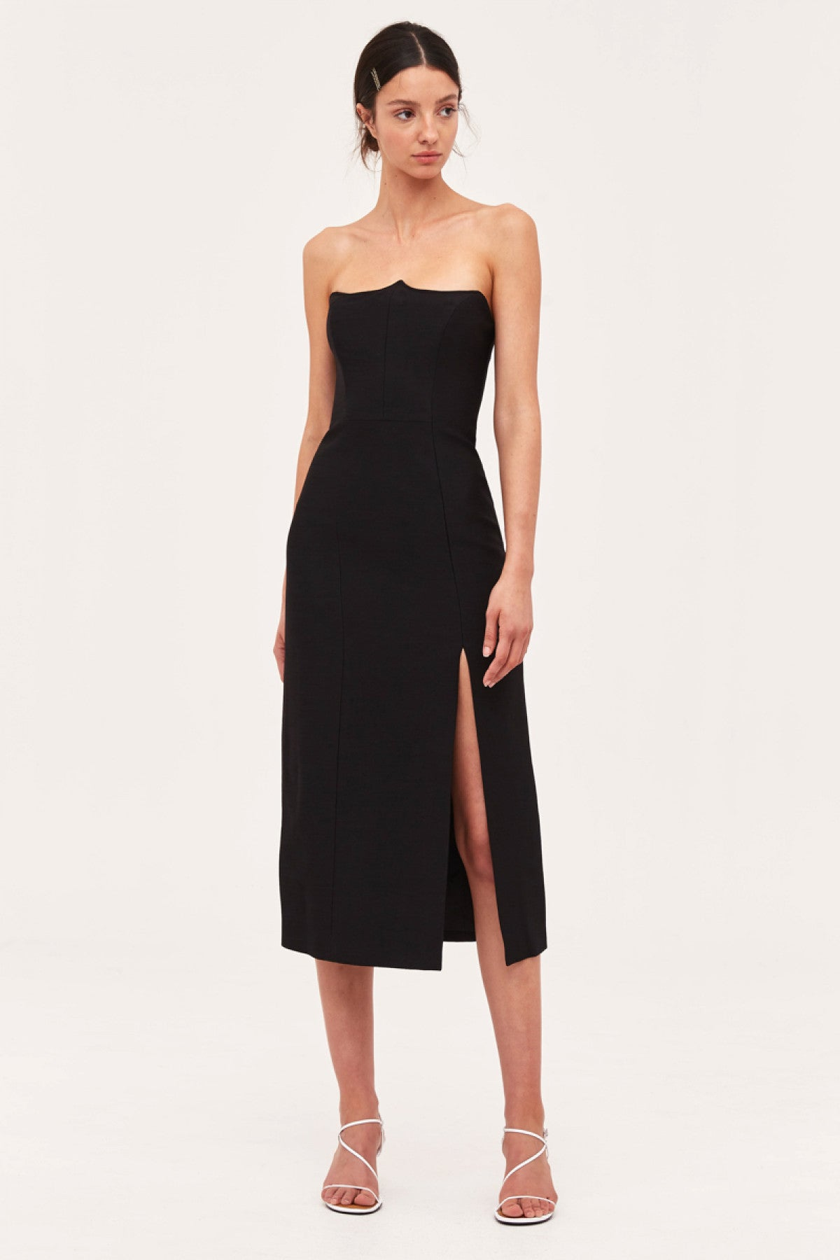 BEYOND CONTROL MIDI DRESS black
