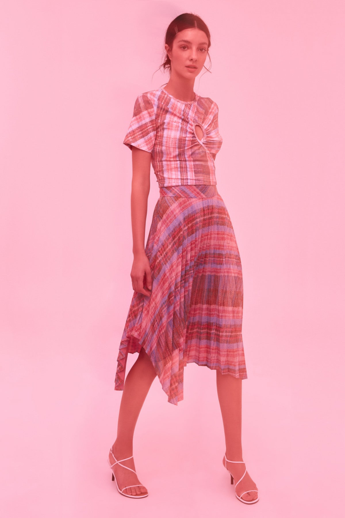 DIFFERENT STORY SHORT SLEEVE TOP pink tartan