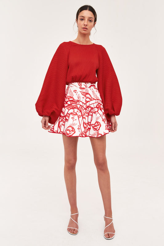 COMES IN WAVES TOP red