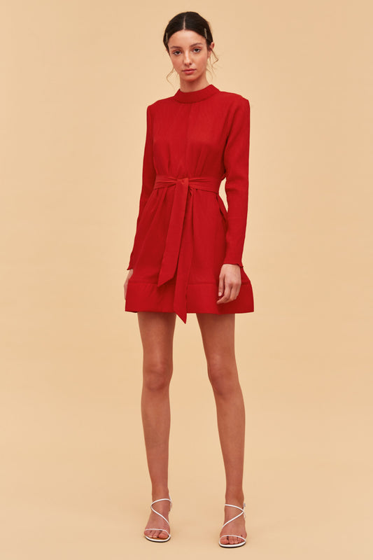 COMES IN WAVES DRESS red